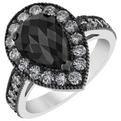 2.98 Carat Pear Cut Black Diamond White Gold Cocktail Ring