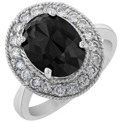4.46 Carat Black Diamond White Gold Cocktail Ring