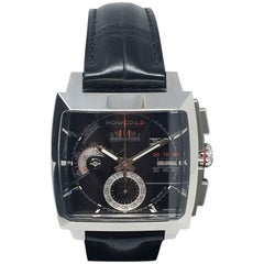 TAG Heuer Stainless Steel Black dial Monaco Automatic Wristwatch