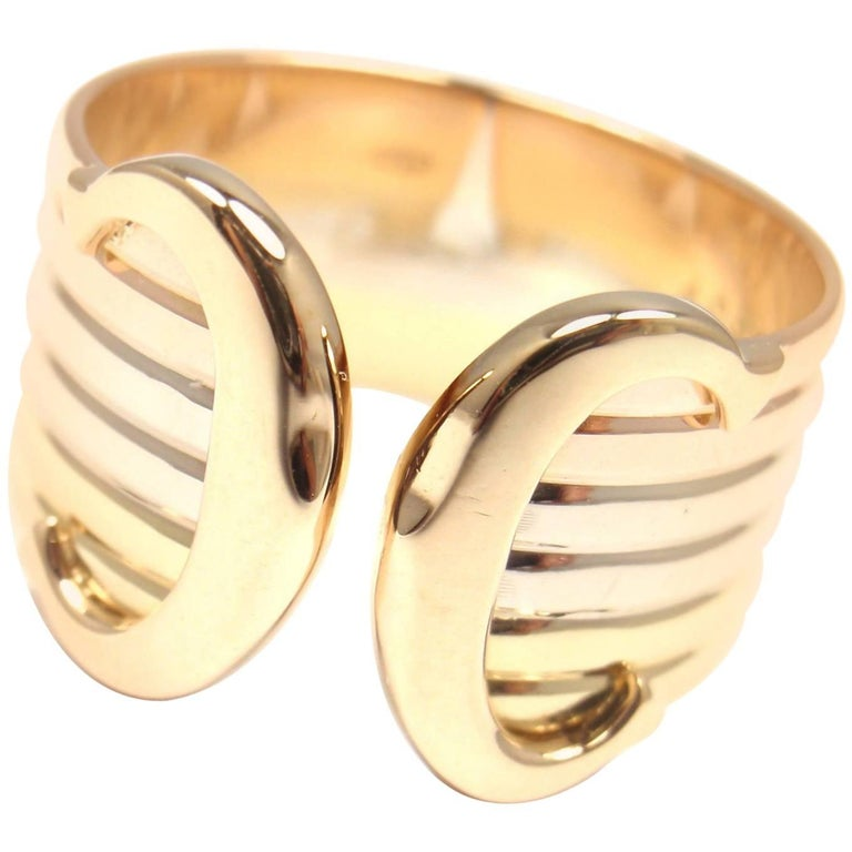 Cartier Logo Double C Motif Tricolor Gold Band Ring