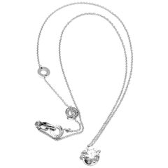 Bulgari 1.02 Carat H Color IF Clarity Diamond White Gold Pendant Necklace GIA