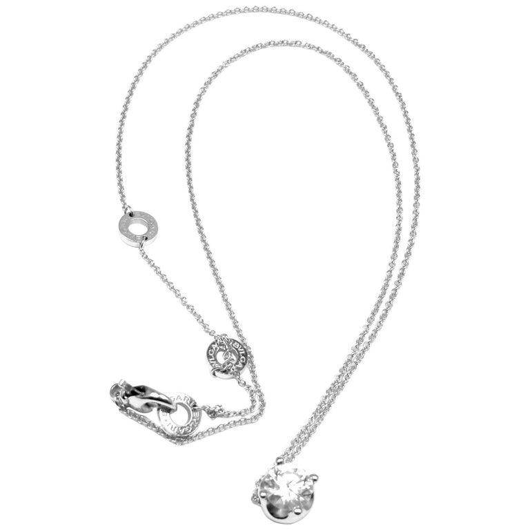 Bulgari 1.02 Carat H Color IF Clarity Diamond White Gold Pendant Necklace GIA