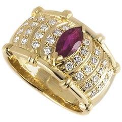 Yellow Gold Ruby and Diamond Dress Ring