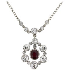 Late Victorian Ruby and Diamond Cluster Pendant, circa 1900s