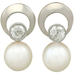 1960s Diamond and Cultured Pearl Yellow Gold Earrings