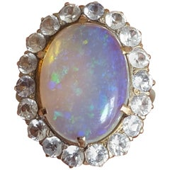 Art Deco Australian Jelly Opal Gold Halo Cocktail Ring