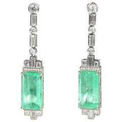 Art Deco Design 18 Carat Emerald and Diamond Pendant Earrings Stamped Castellani