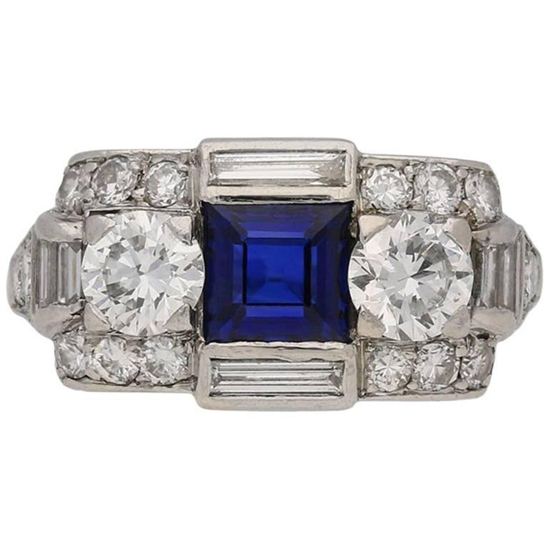 e8f065e91 Tiffany and Co. Art Deco Sapphire Diamond Ring For Sale at 1stdibs