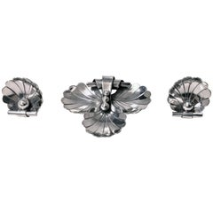 Georg Jensen Sterling Scallop Shell Brooch and Earrings, circa 1940