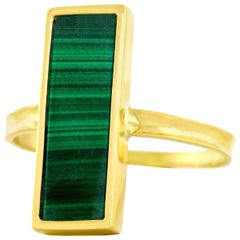 French Modern Malachite Gold Ring