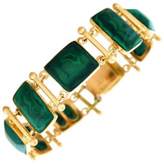 French Modern Malachite Gold Bracelet
