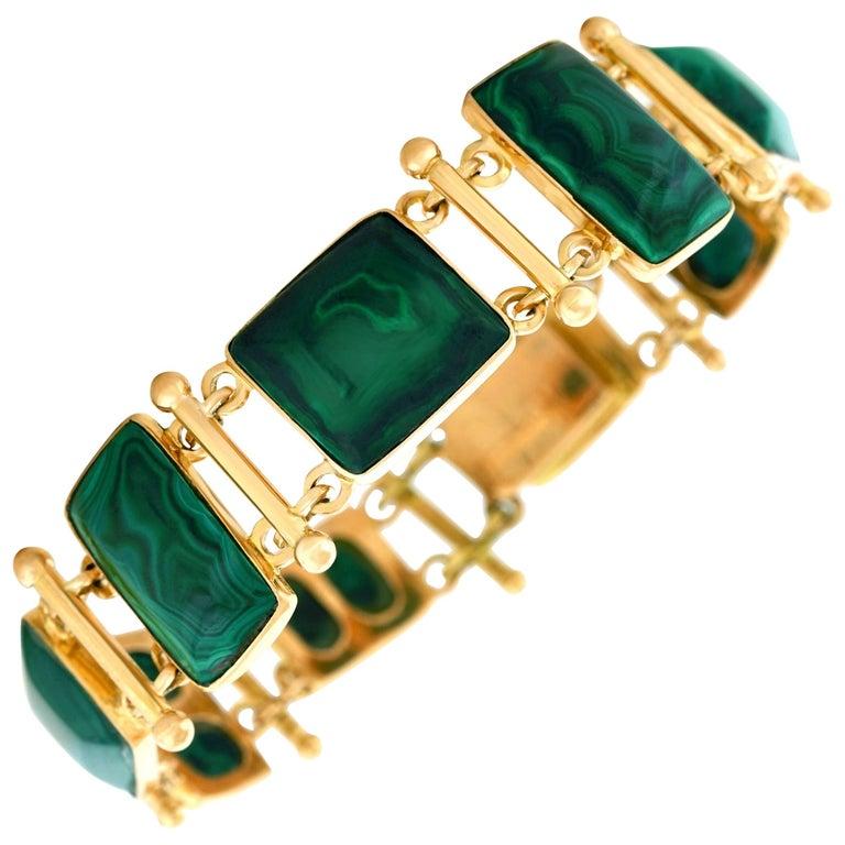 French Modern Malachite Gold Bracelet 1