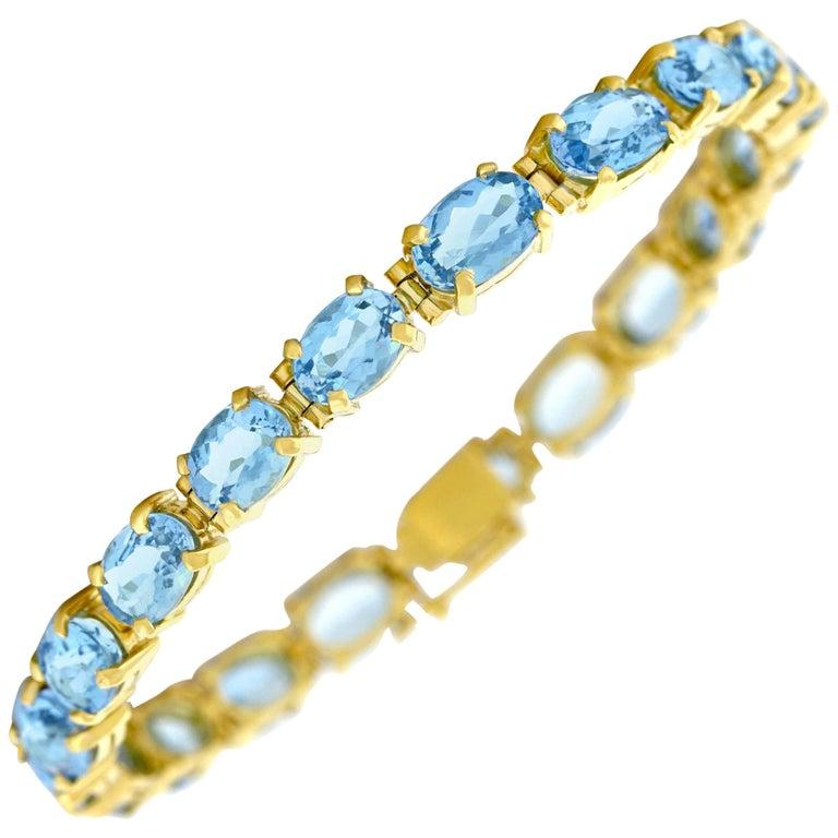 Aquamarine Set Gold Bracelet