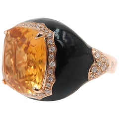 Citrine Diamond and Black Enamel Cocktail Ring