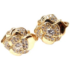 Chanel Camellia Camelia Flower Diamond Yellow Gold Earrings