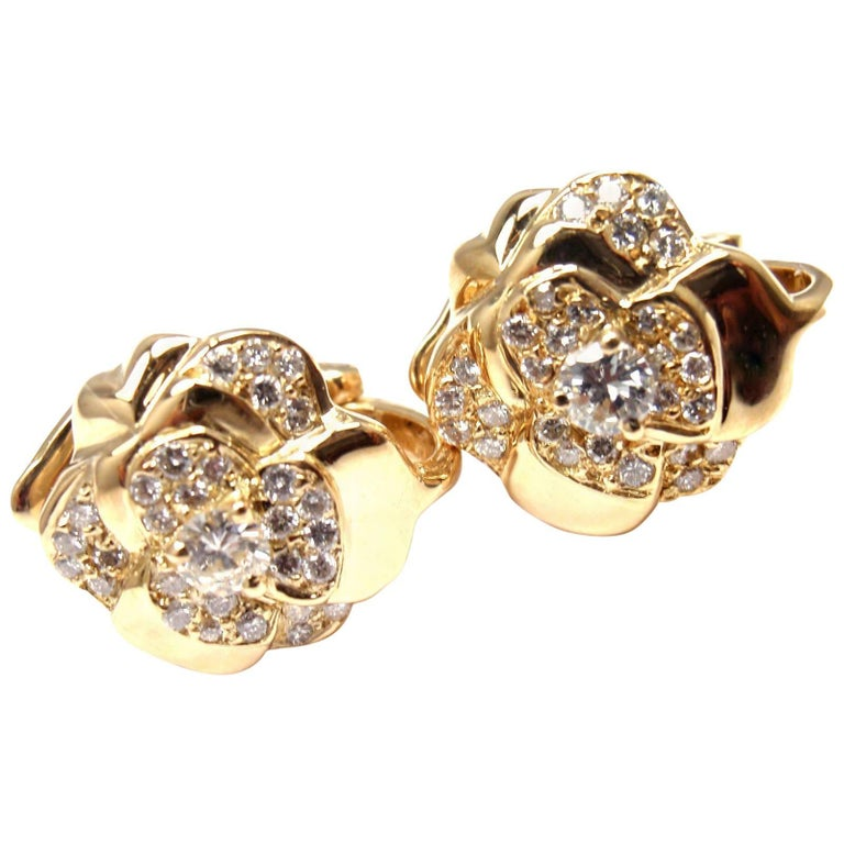 Chanel Camellia Camelia Flower Diamond Yellow Gold Earrings 1
