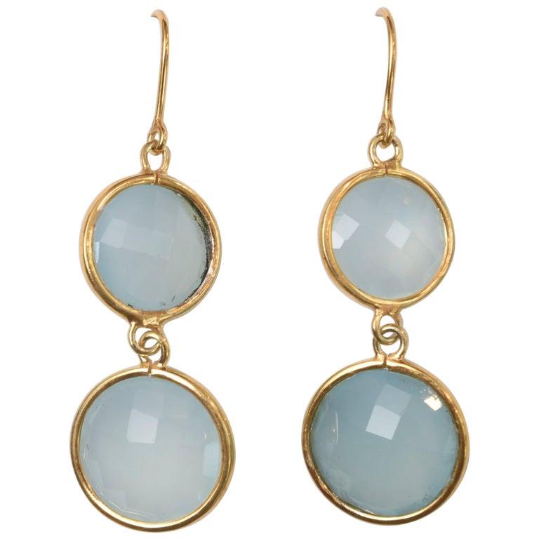 Double Faceted Chalcedony Drop Earrings in 18 Karat Gold