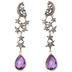 Amethyst and Diamond Sun and Moon Dangle Earrings