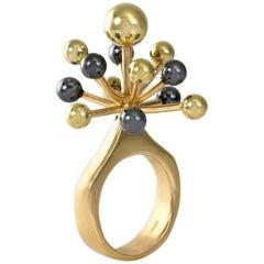 1970s Hans Hansen Gold Sputnik Ring