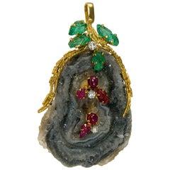 Andrew Grima 1970s Agate Emerald Diamond Ruby Gold Pendant