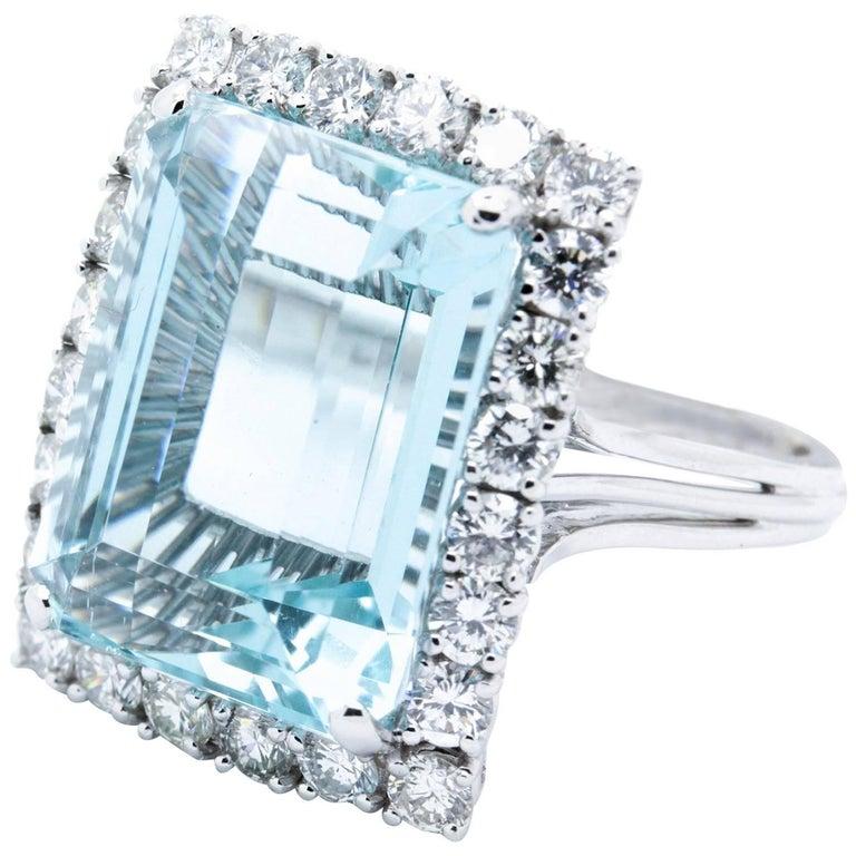 14.79 Carat Aquamarine Diamond Platinum Handmade Cocktail Dinner Ring