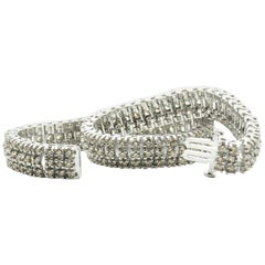 Champagne Diamond  Triple Articulated Tennis Bracelet
