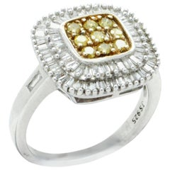 , White and Yellow Diamond Plaque Ring