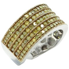 131 Stone, 1.17 Carat, Yellow Diamond Cigar Band Fashion Ring in Sterling Silver