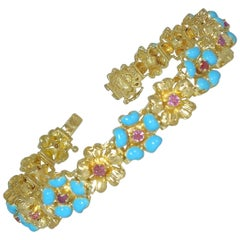 Pink Sapphire and Blue Enamel Gold Bracelet