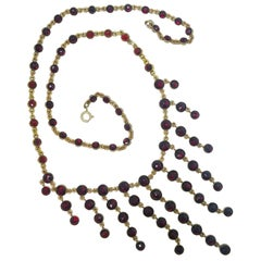 Dramatic Antique Bohemian Garnet Necklace