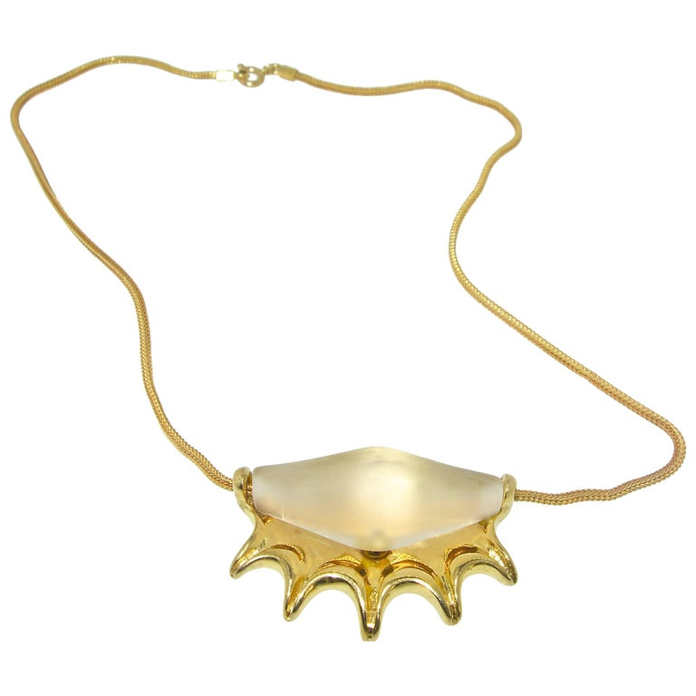 Lalaounis Gold and Rock Crystal Pendant 1