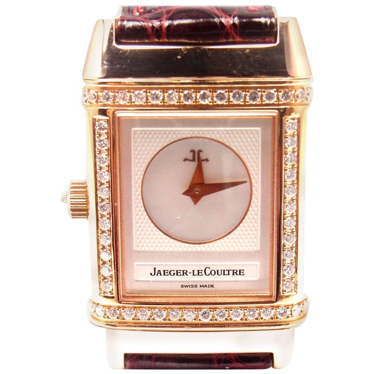 Jaeger LeCoultre Rose Gold Diamond Reverso Duetto Manual Wristwatch Ref 266.24.4