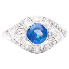 Art Deco Sapphire and Diamond Filigree Ring in Platinum