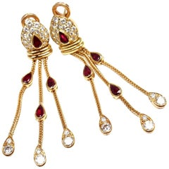 Vintage Van Cleef & Arpels Diamond Ruby Hanging Drop Earrings