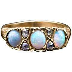 Victorian Opal and Mine Cut Diamond Ring in 18 Karat Yellow Gold
