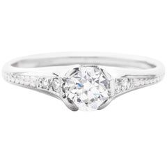 Art Deco Hand Engraved 0.70 Carat Diamond Engagement Ring in Platinum