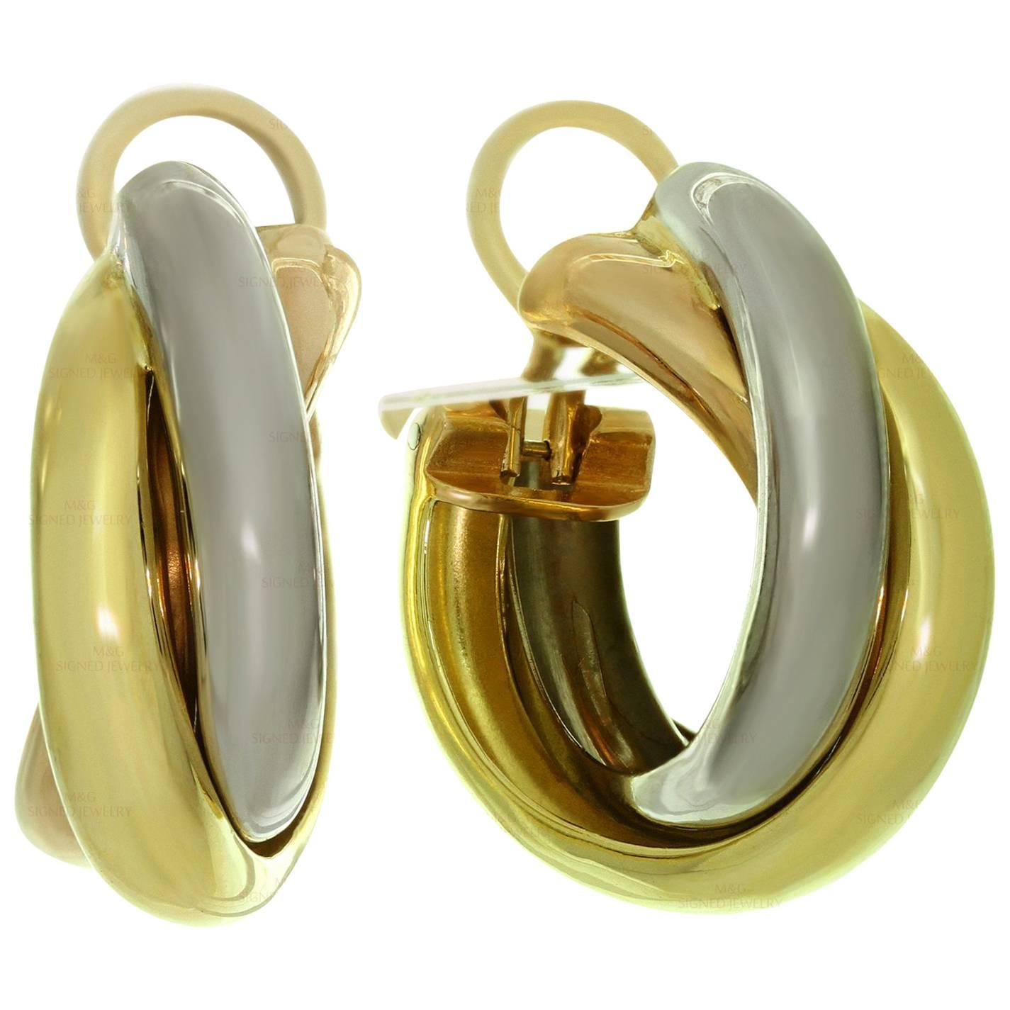 Cartier Trinity Tri-Gold Large Model Wrap Earrings