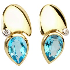 Manfredi Blue Topaz with Diamond Earrings