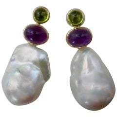 Michael Kneebone Cabochon Peridot Amethyst Baroque Pearl Drop Earrings