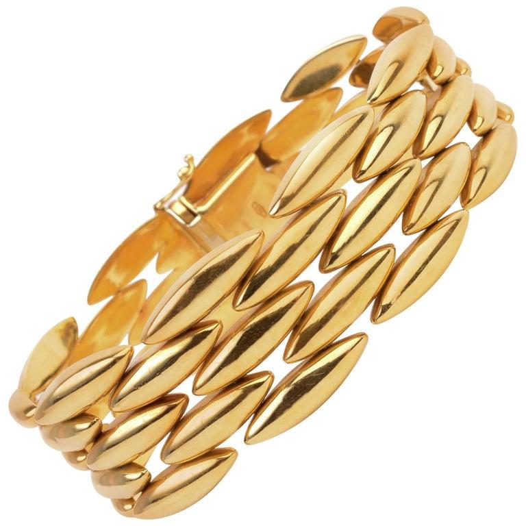 Cartier Navette Shaped Gold Link Bracelet For Sale