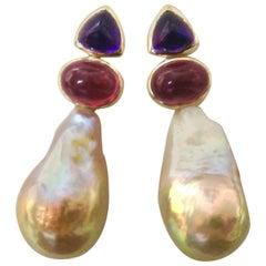 Michael Kneebone Cabochon Amethyst Garnet Baroque Pearl Drop Earrings