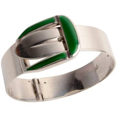 Gucci Green Enamel Sterling Buckle Bracelet
