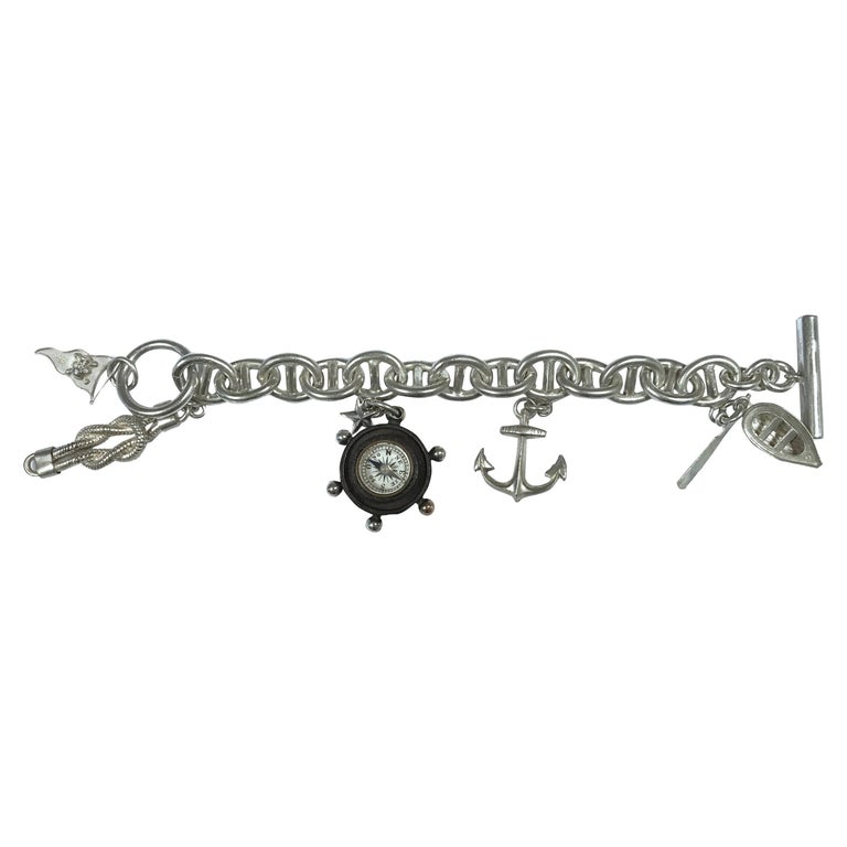Silver Chain Bracelet Compass Boat Anchor Flag and Knot