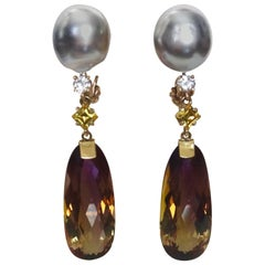 Michael Kneebone Ametrine Diamond Yellow Sapphire Tahitian Pearl Dangle Earrings