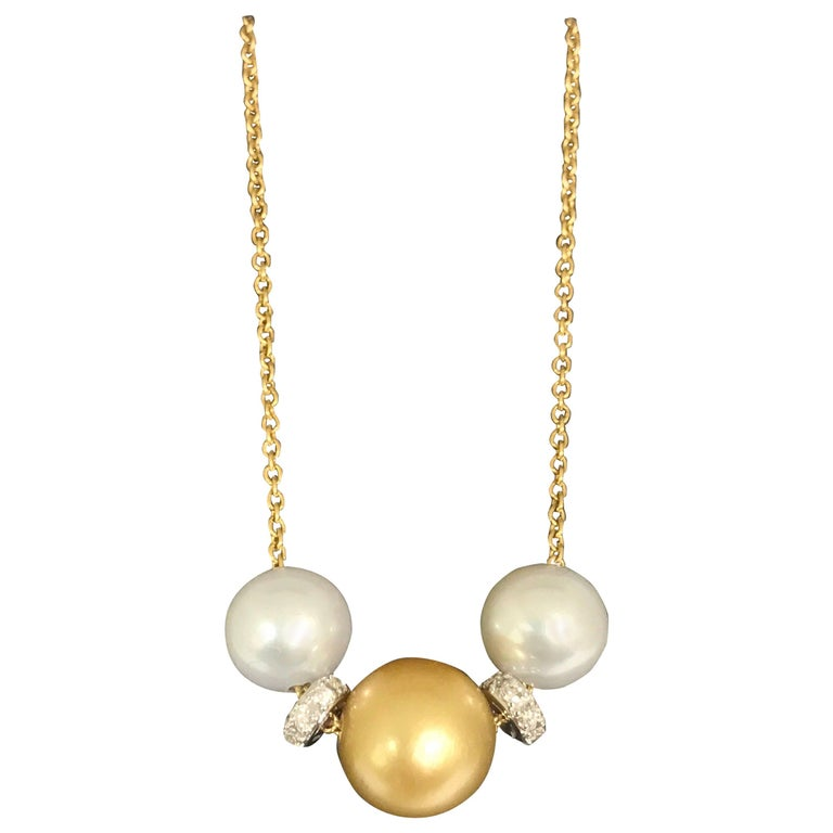 Cultured Pearls and South Sea Pearl White Diamonds Yellow Gold