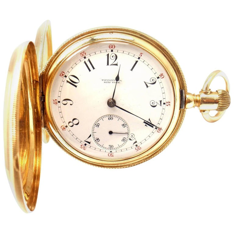 Tiffany & Co. Yellow Gold Triple Signed Hunter Case Pocket Watch