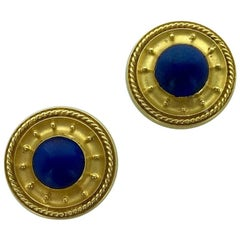 19th Century Etruscan Revival Lapis Lazuli and Gold Studs