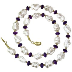 Large, White 'Peanut' Pearls and Sparkling Amethyst Rondel Necklace