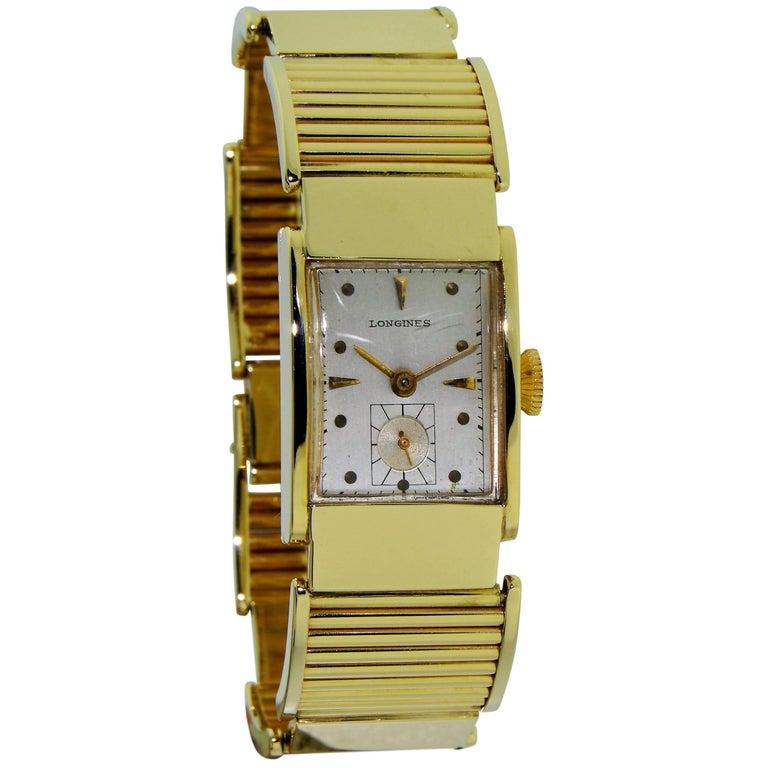 Longines Yellow Gold Art Deco Manual Bracelet Watch, 1940s