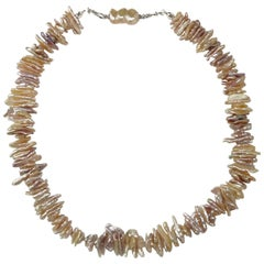 Iridescent Stick Pearl Necklace in Tones of Peach and Mauve